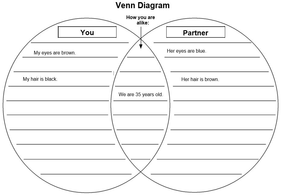 "Venn Diagram show examples for ""You"" and ""Partner"""