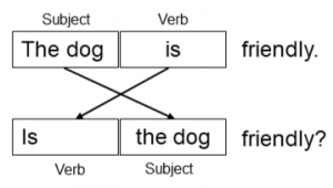 A chart showing how the subject and verb are inverted.