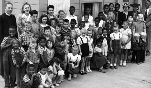 students and teachers at a school in Vanport