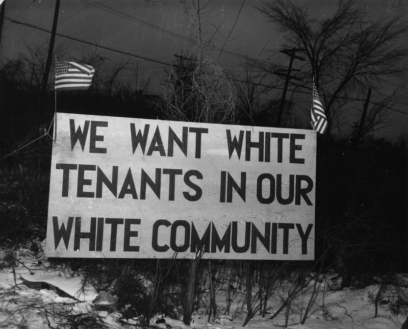 sign says we want white tenants in our white community