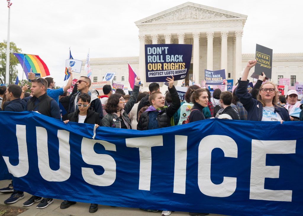 Scenes outside the Supreme Court as three cases involving LGBTQ employment rights were argued at the Court.