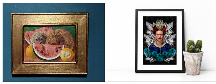 Two paintings representing the art and artist Frida Kahlo.