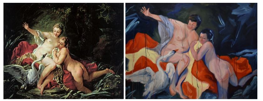 Two paintings showing two women and a swan.