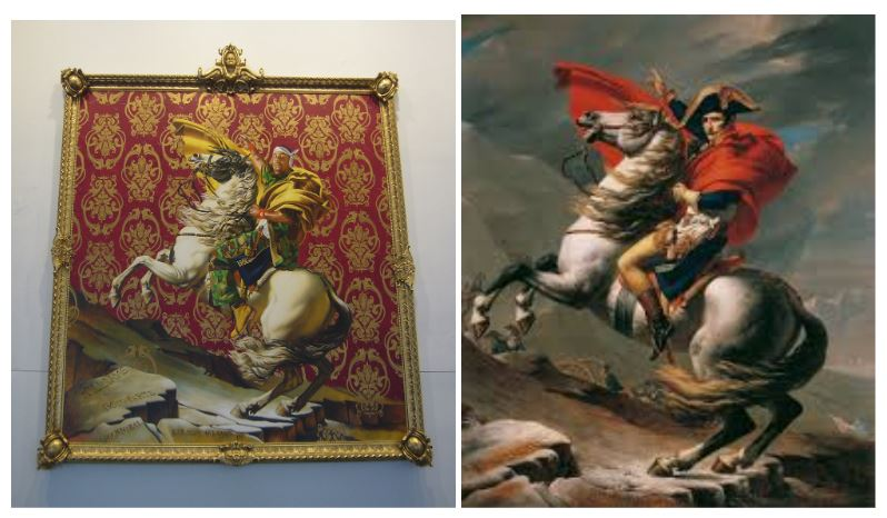 Two paintings depicting Napoleon.