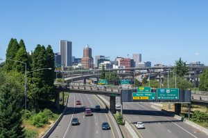 Portland highway and skyline