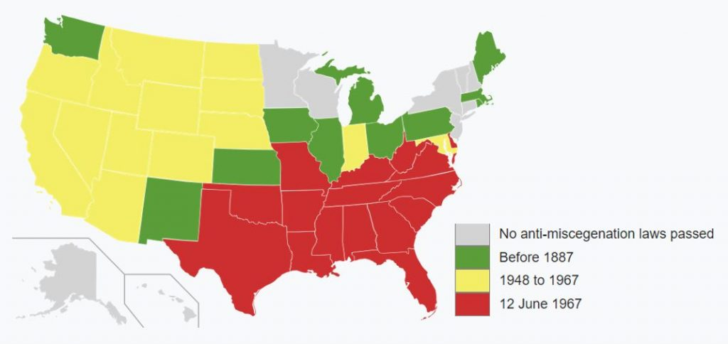 most states had anti-miscegenation laws until at least the 1940s.
