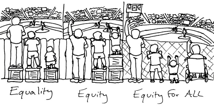 Equality means not everyone can see; equity means everyone can see; equity for all means taking down the barrier.