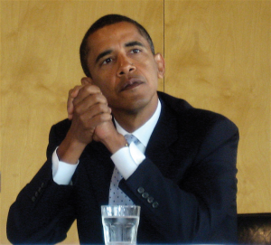 Barack Obama looking pensive