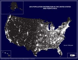map showing more population in East and West coast.