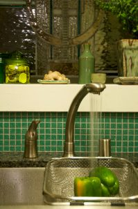 Photograph of a sink with vegetables in it and a faucet with running water pouring over them.