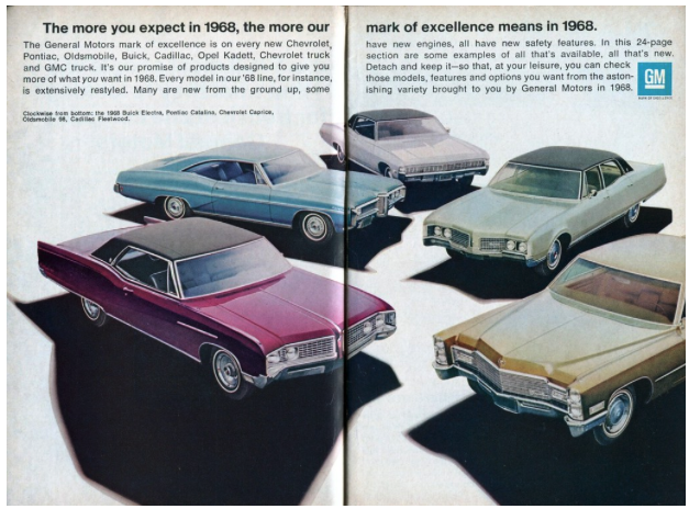 Magazine ad from 1968 advertising cars.