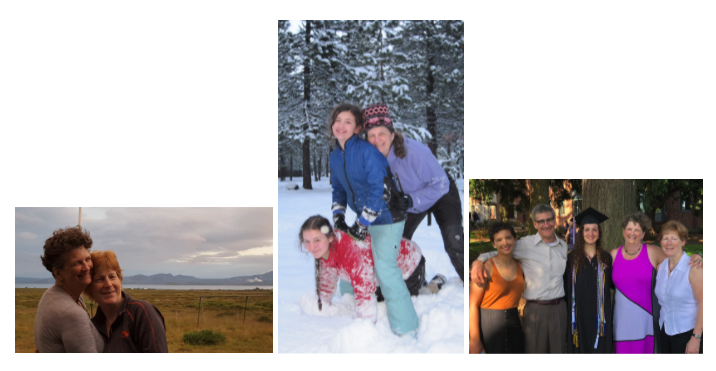 Three photographs of the author and her family.
