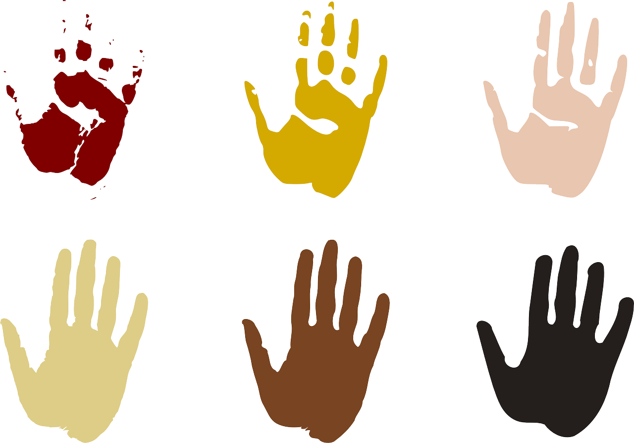 Six hands painted different colors.