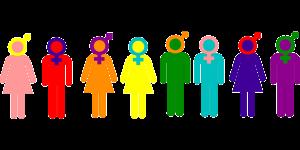 Illustration of men and women symbols