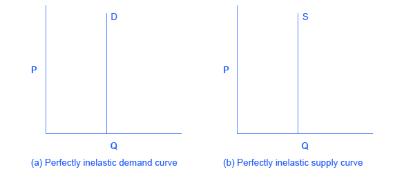 The two graphs show that zero elasticity of supply and zero elasticity of demand are straight, vertical lines.