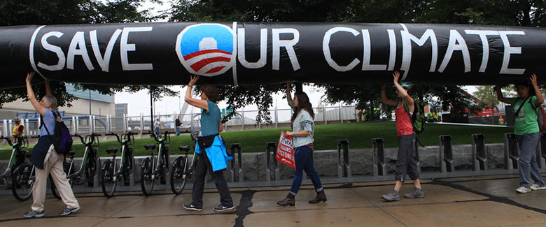 This photo shows a protest against the Keystone XL Pipeline for tar sands at the White House in 2011.
