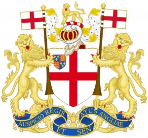 Two lions holding a shield, the flag of England, and the crown