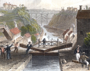 Engraving depicting a lock in early 19th century New York
