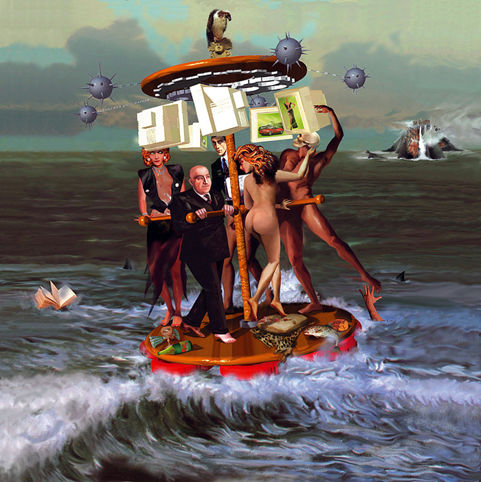 A surrealist painting of five people spinning on a merry-go-round-like vessel on the open ocean, in chase of advertised aspirations. Various elements of the image portray the danger of abandoning (or not abandoning) this pursuit.