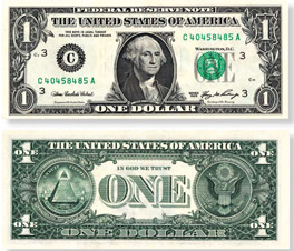 A modern one dollar bill, both sides.