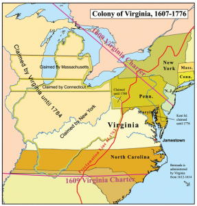 Map of American colonies from early 17th to late 18th centuries