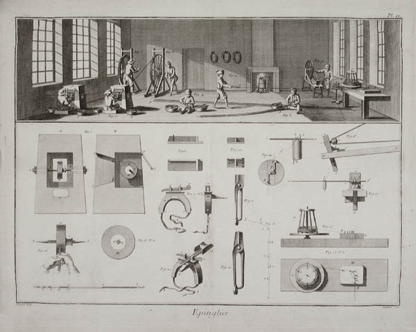 An etching of a small pin manufacturing workshop and the simple tools used therein.