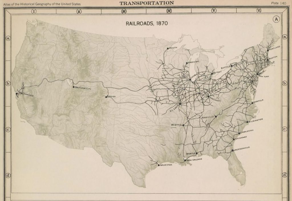 Map of rail lines across continental US, densely connected in the Northeast and across the upper Midwest, with only one line reaching the West Coast