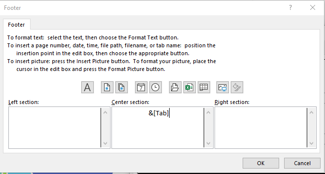 """Footer dialog box shows options with 3 fields below: Left section, Center section, Right section. Center section is only one with data """"&[Tab]""""."""