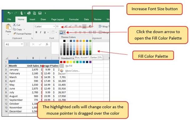 Fill Color Palette drop-down menu with range of colors.