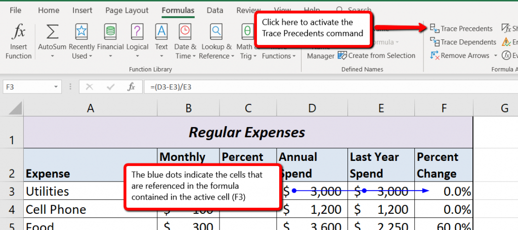 Formula tab open to activate Trace Precedents and two blue dots on an arrow point out cells referenced in formula of activated cell.