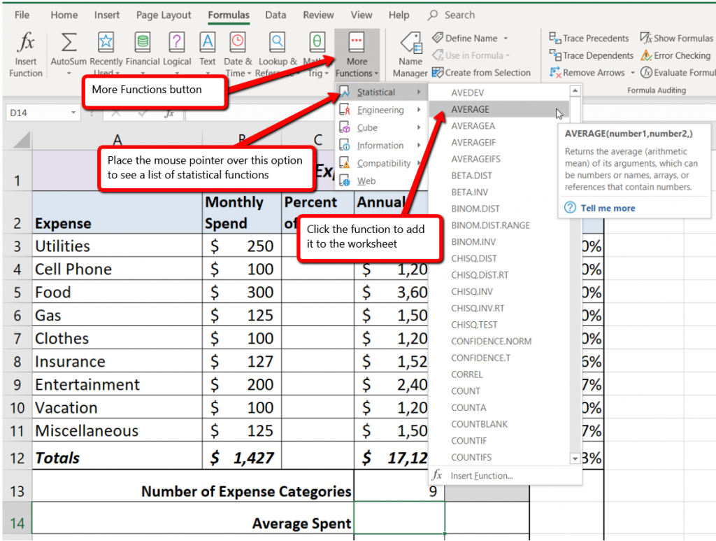Press F6 until ribbon pane is activated, then M to select Formulas, then Q to select More Functions. Press S to select Statistical menu item, then scroll down to select the Average function.