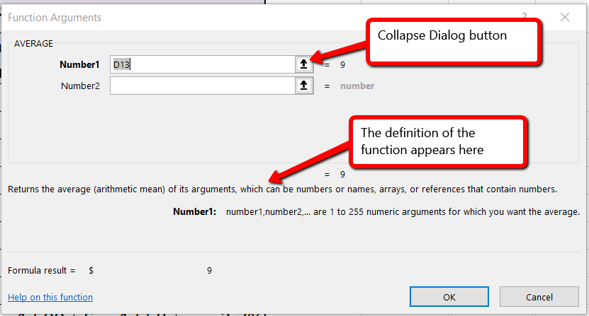 Function Arguments dialog box open to Average function, with function definition, and Collapse Dialog button.