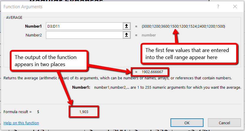 """Function Arguments dialog box shows first few values next to cell range, and output of function appears both in center of box and at bottom as """"formula result""""."""