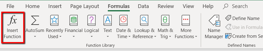 Formulas Ribbon with box around the Insert Function button