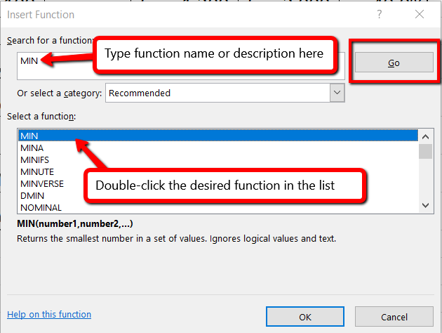 Insert Function dialog box with MIN typed in the Search box, Go button highlighted, and MIN selected in the function list