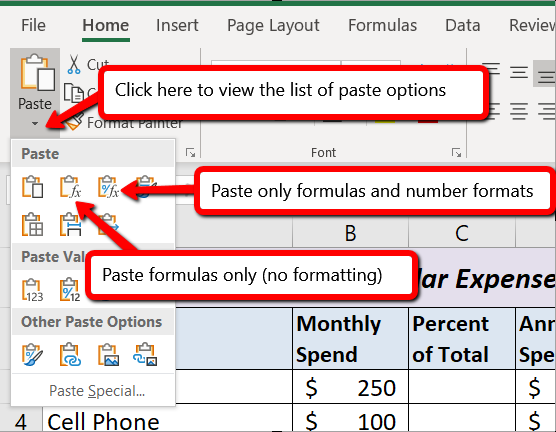Press Ctrl + Alt + V for Paste Special menu, then F to select Functions, or R to select formulas and number functions.