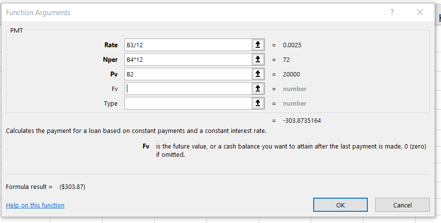 Function Arguments dialog box for PMT function shows values for Rate, Nper, and Pv, function output, and definition of selected argument. Help on function link at bottom.