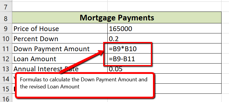 Show Formulas View of cells A8:B15 with cells B11 and B12 containing the formulas to calculate the Down Payment Amount and revised Loan Amount
