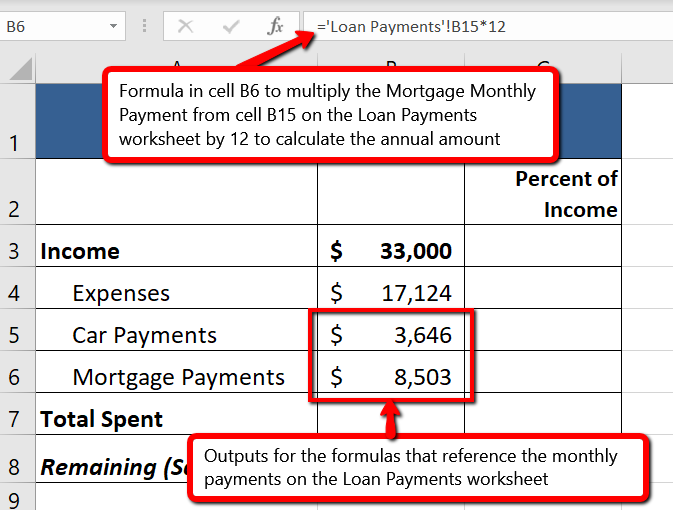 "Formula ""='Loan Payments'!B15*12"" indicates that B15 reference is from Loan Payments worksheet. Outputs for formulas that reference cells in Loan Payments ($3,646 and $8,503) appear in cells B5 and B6 respectively."