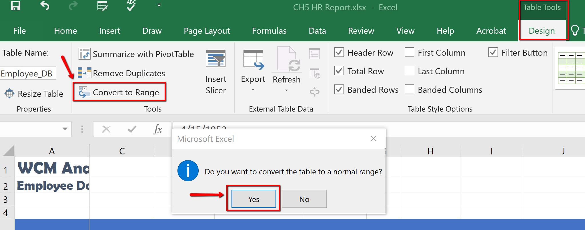 Screenshot of the Table Tools Design tab