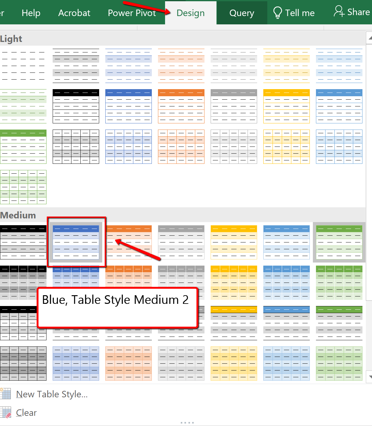 Screenshot of the Table Styles gallery
