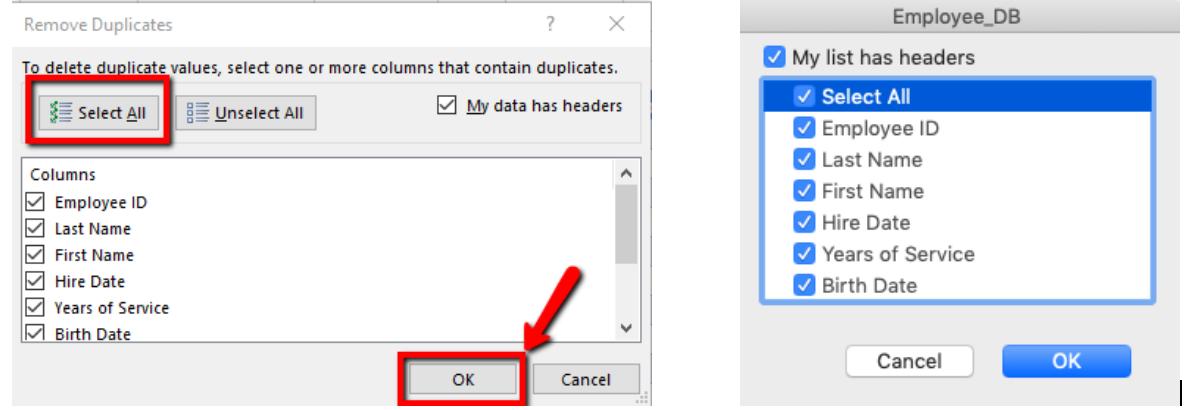 Windows and Mac duplicate records dialog box