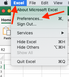 Excel for Mac Preferences