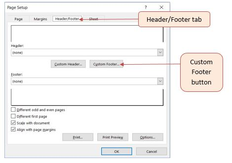 Open Page Setup dialog (F6, P, S, P), then use right arrow to reach Header/Footer tab. Type Alt + U to press the Custom Footer button.