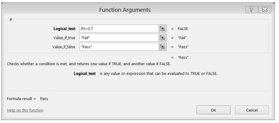 "IF Function Dialog Box with formula for Logical Test: = FALSE. ""Fail"" if value true, ""Pass"" if value false."