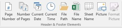 Header & Footer Elements buttons: Page #, Number of pages, Current date, Current Time, File Path, File Name, Sheet Name, & Picture.