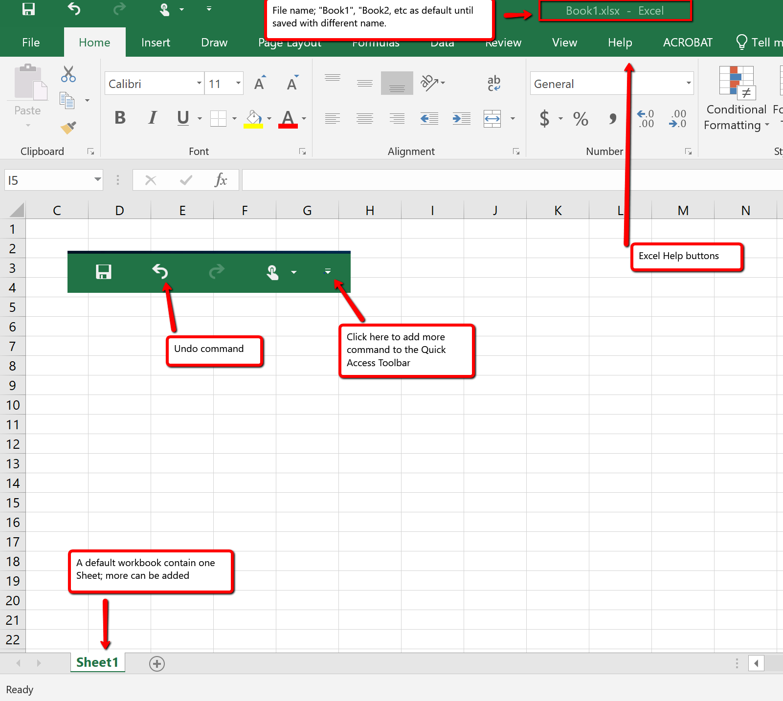 Quick access toolbar with commands Excel Help, Zoom slider, view options, and workbook tabs.