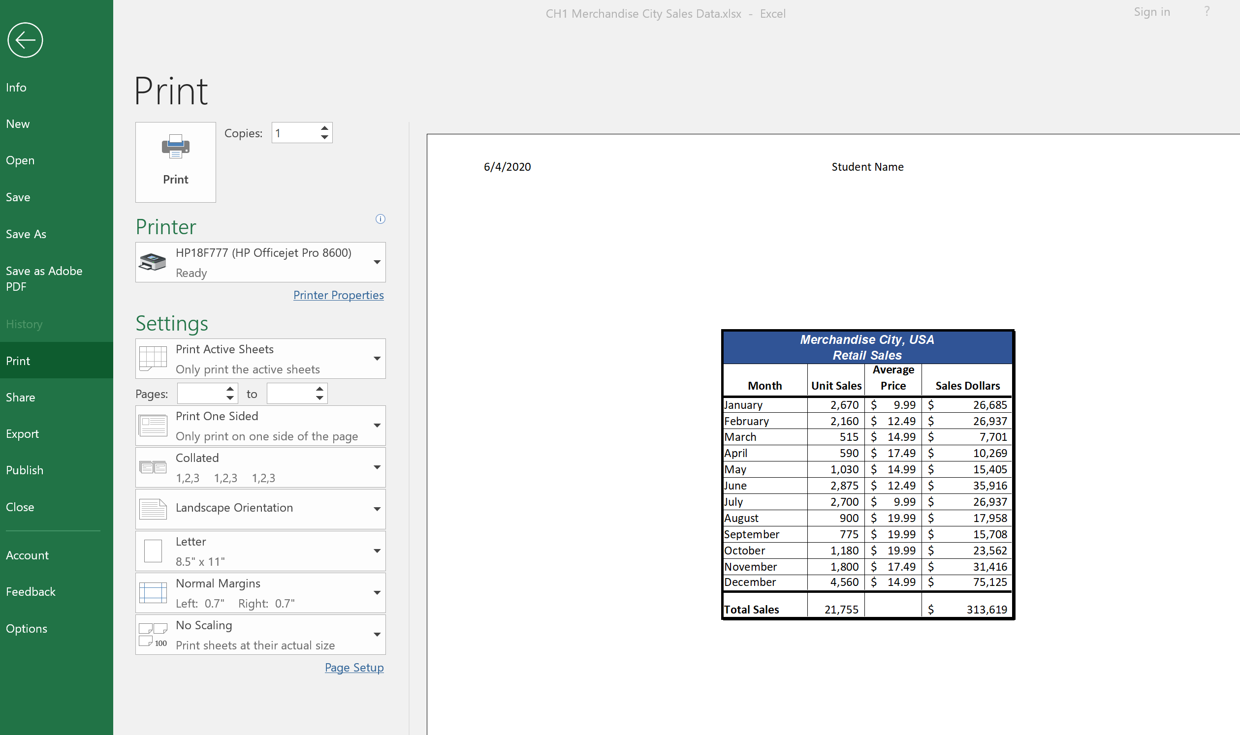 Print Backstage View with worksheet preview on right and print options on left, including printer choice and settings.