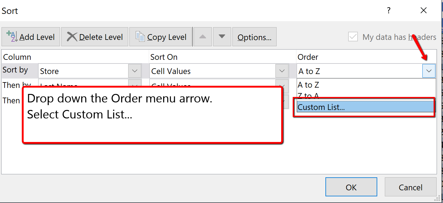 Screenshot of the Custom List opiton