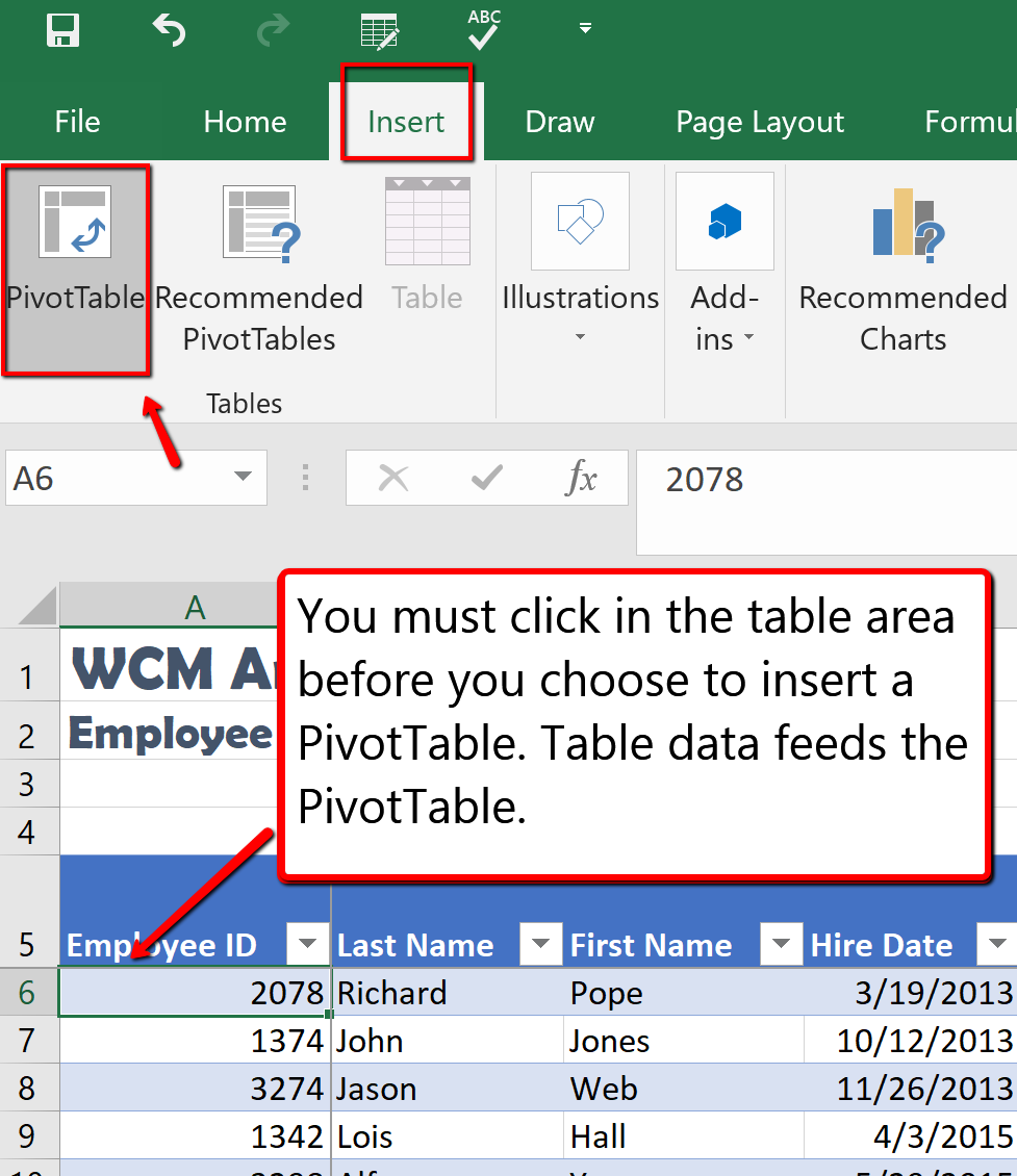 Screenshot of the Excel window displaying the Insert tab